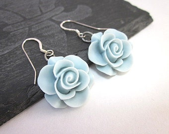 Light Blue Flower Earrings -- Light Blue Dangles -- Dainty Flower Earrings -- Pastel Blue Earrings -- Resin Flower Earrings --Flower Dangles