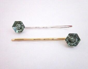 Swarovski Hair Accessory -- Green Hair Pin -- Green Bobby Pin Accessory -- Medium Green Pin -- Green Swarovski Hair Pin -- Erinite Hair Pin
