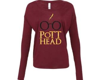 Harry Potter Fan Shirt for Women - The Original Pott Head Maroon Long Sleeve Shirt, The Perfect Gift for the Harry Potter Fan in your life