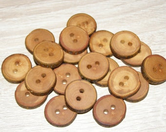 "20 Handmade apple wood buttons, accessories (0,87"" diameter x 0,16"" thick)"