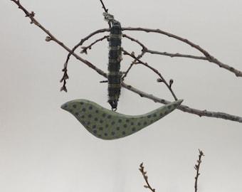 Primitive BIRD ORNAMENT - Folk Art Nursery Decor - Wood Bird - Rustic Country - Spots - Woodland Animal - Polka Dots - Whimsical - Liam