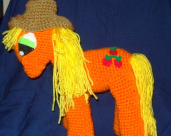 Apple Jack Crochet Pony With Removable Hat Stuffed Animal Toy