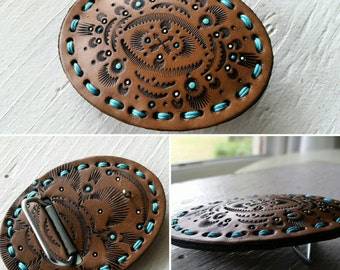 Southwestern Arrows Leather Belt Buckle - Turquoise Handpainted - Unisex - Hand Tooled - Ready to Ship Gift - Mesa Dreams Leather