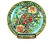 Blue Ceramic Plate - Handmade Floral Pottery Platter with Rose Design and Red Flowers - OOAK Collectible