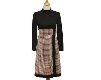 Vintage 60s 70s Designer Jane Andre Fringed Wool Dress, Sz 6 8 Medium, Fabulous Condition