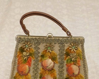 SALE Vintage 50s 60s Hand Decorated Autumn Themed Hand Bag Purse by Caron, New, NWT