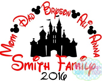 Family Vacation to Disney IRON ON TRANSFER-  Mickey Mouse - Disney - Personalized