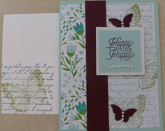 Stampin' Up! Happy Happy Butterfly Handmade Card from My Paper Pumpkin Kit with faux pearls, butterfflies and more