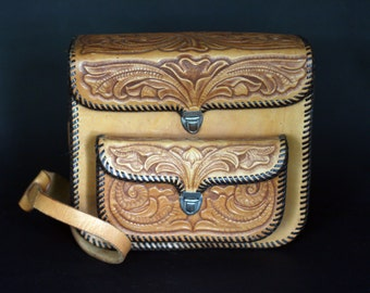 vintage tooled leather camera case