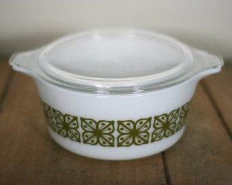 vintage pyrex square flowers verde casserole with lid