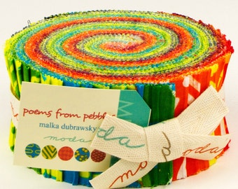 Poems from Pebbles by Malka Dubrawsky for Moda - 100% Cotton - 40 Strip Jelly Roll