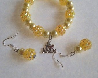 Summer Sale I Love Jesus Charm Yellow Bead Bracelet and Earring Set