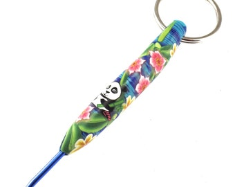 Unique, Colorful Crochet Hook Keychain 2.5mm, Polymer Clay Covered Crochet Hook, Panda Design