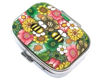 2 Compartment Polymer Clay Covered Pill Box, Pill Case, Colorful Flowers and Bees