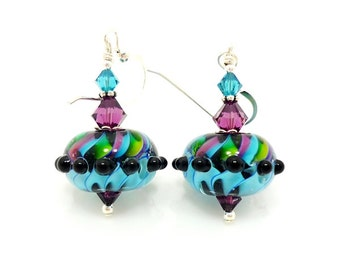 Blue Purple Earrings, Colorful Earrings, Bright Earrings, Lampwork Earrings, Glass Bead Earrings, Unique Earrings, Glass Earrings