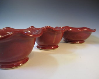 Red Nesting Serving Bowls - One Large Two Medium - Ready to Ship