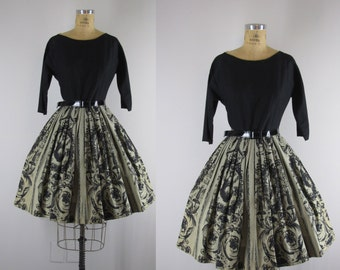 1950s Dress l 50s Cotton Dress with Baroque Print Skirt