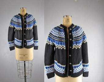 1960s Fair Isle sweater / vintage hand knit Norwegian sweater