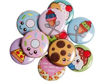 3 Magnets / Badges, choose any 3, fun food badges, kawaii food art, cute button badge, food pin badge, kawaii badge set, cute illustrations