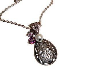 Metalwork Teardrop with Crystal Beads and Pearl Hang on a Silver Chain - Handmade Necklace -
