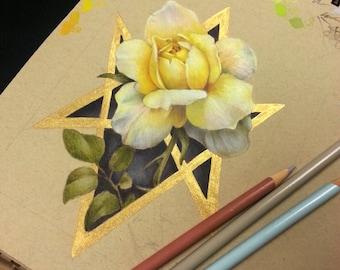 Yellow Rose Print with Metallic Hexagram 5x7 Inch Hand Embellished