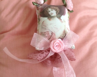 5 inch lavender scented sachet with image of a Victorian lady in pink