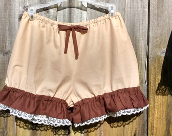 Beige Bloomers with brown ruffles ready to ship size M
