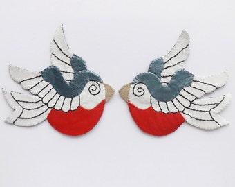 Leather Swallow Tattoo Jewelry Brooch Sailor Rockabilly Jewelry Rock n Roll
