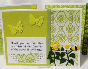 Scripture Note Cards, Handmade, Flowers and Butterflies, Orange, Yellow and Green, Blank Note Cards, 12 Letter Writing, Pen Pals, Sunflowers