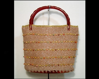50s 60s gold stripe lurex fabric beaded purse bag ~ glam sparkly glitter handbag kit ~ tortoiseshell base root beer plastic bamboo handles