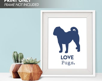 LOVE PUGS - Art Print (Featured in Navy) Love Animals Art Print and Poster Collection