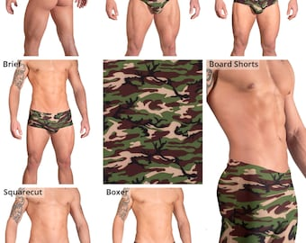 Green and Brown Camouflage Swimsuits for Men by Vuthy Sim.  Thong, Bikini, Brief, Squarecut, Boxer, or Board Shorts - 156