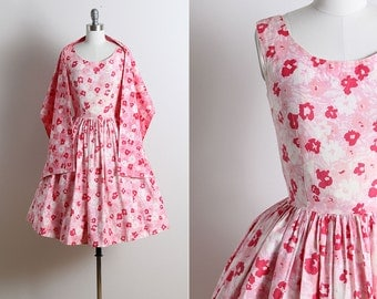 Vintage 50s Dress | 1950s vintage dress & wrap | floral cotton dress xs/s | 5711