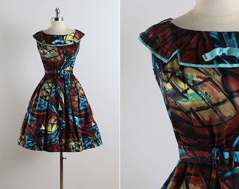 Vintage 50s dress | vintage 1950s dress | stained glass cotton large | 1426