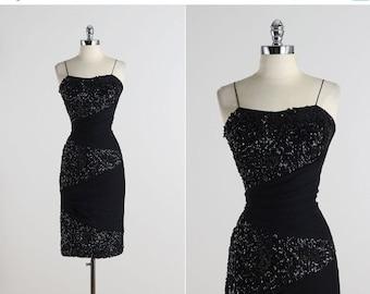 30% SALE Nightscape . vintage 1950s dress . vintage dress . 5543