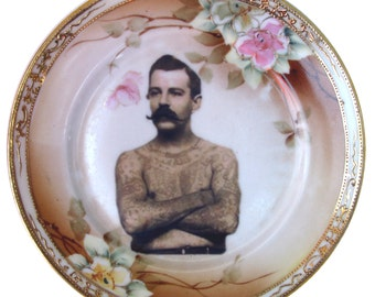 The Tattooed Man - Altered Vintage Plate 6.25""