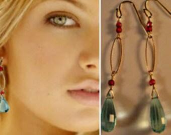 Multi Gemsstone Earrings,drop earrings,dangle earrings,garnet earrings,birthstone earrings,hoop earrings,gold earrings,gold hoop earrings