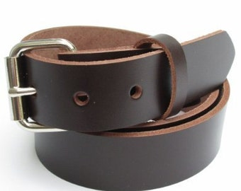 Heavy Duty Chocolate BROWN LEATHER BELT 1 1/4 inch Size 32