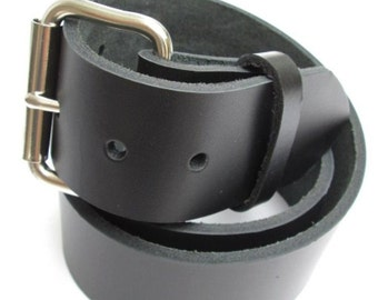 Mens Heavy Leather Belt 1 3/4 inch Wide - Black & Brown