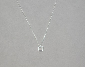 Silver Floating Square Necklace