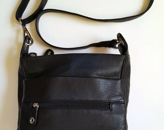 Genuine Leather Double Zip Compartment Tourister Cross body Bag, RARE!