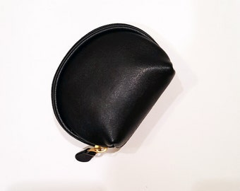 Soft GENUINE LEATHER Mini coin purse, chubby purse, vintage, Petite