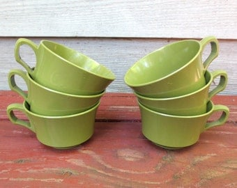 6 Avocado Green Allied Chemical Vintage Melmac Cups