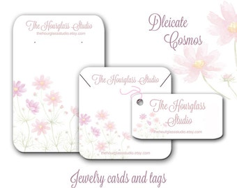 Earring Cards, Assorted Sizes, Spring Flower Cards -  Custom Jewelry Cards, Necklace Display Cards, Product Tags, Jewelry Display