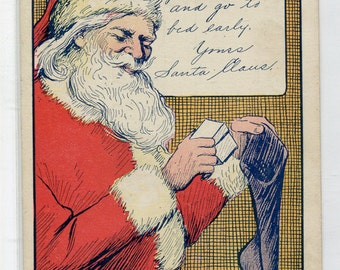 Santa Claus Placing Gift in Stocking Merry Christmas Holiday postcard