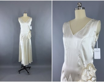 Vintage 1920s Wedding Dress / 20s Bias Cut Dress / 1930s Art Deco Wedding / 30s White Satin Bridal Gown