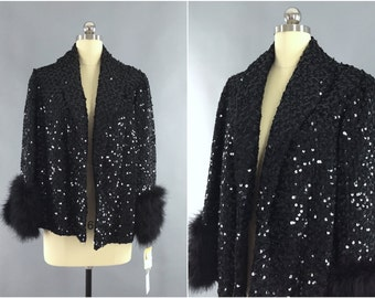 Vintage 1960s Sequin Jacket / 60s Sequined Coat / Feathers / Formal Party Opera Coat / Size Small to Medium