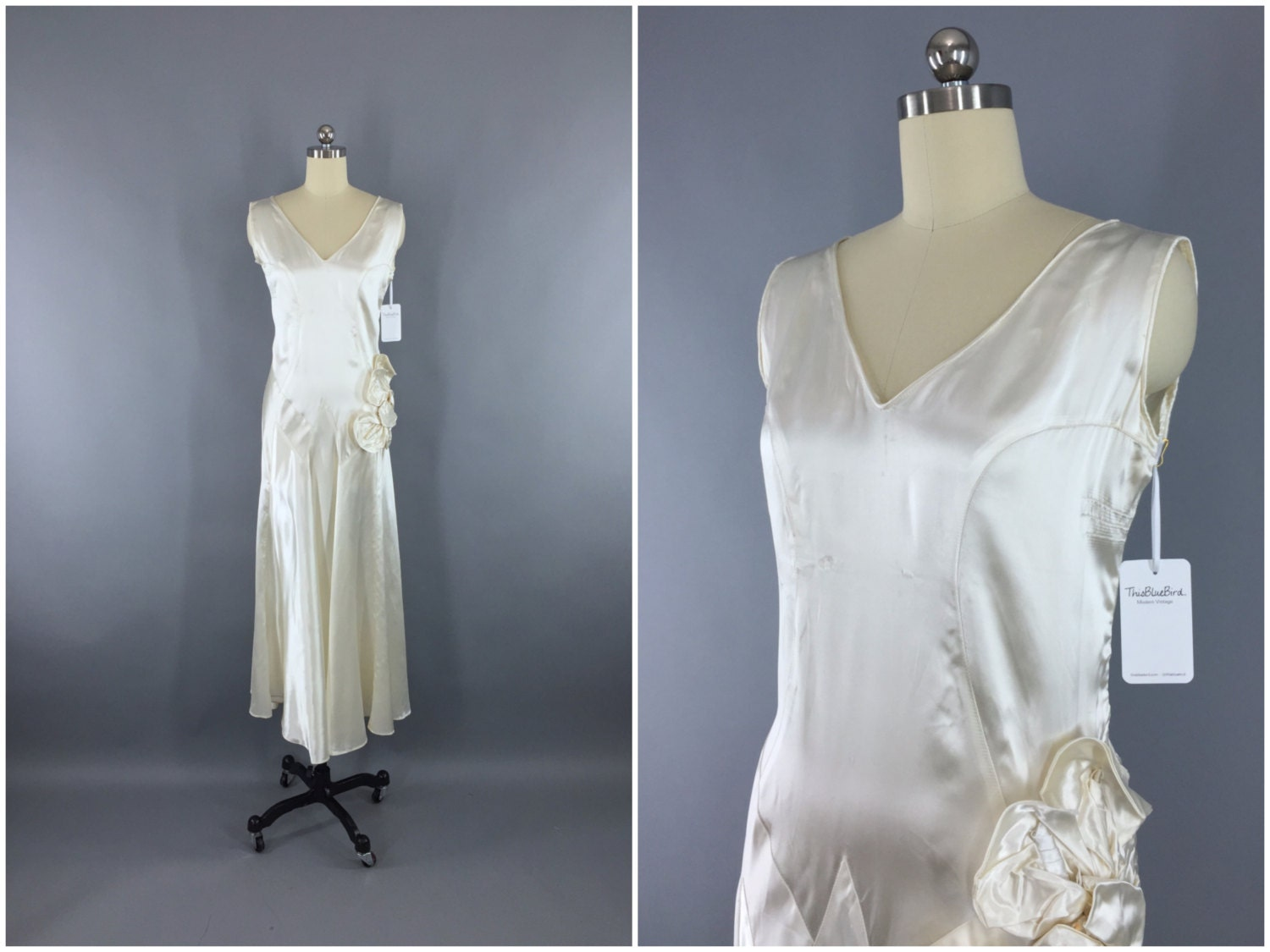 Vintage 1920s Wedding Dress / 20s Bias Cut Dress / 1930s Art