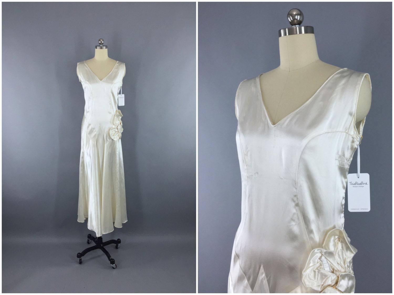 1930s Wedding Gowns: Vintage 1920s Wedding Dress / 20s Bias Cut Dress / 1930s Art