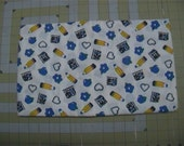 1 yard of School items and What appears to be white embossed dots on white background Cotton Fabric blues Quilt